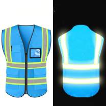 High Reflective Visibility Safety Vest Protective Safety Workwear with Reflective Strips and Front Zipper (Blue-Small)