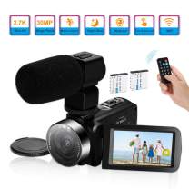 Video Camera Camcorder,Ultra HD 2.7K Vlogging Camera 30FPS 30MP 16X Digital Zoom 3.0 Inch Rotatable WiFi Camcorders with Microphone IR Night Vision&2Batteries