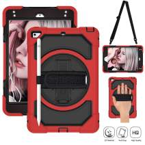 SUPFIVES iPad Mini 5 Case 2019 and iPad Mini 4 Case with Adjustable Shoulder Strap+Hand Strap+Pencil Holder+Stand Heavy Duty Armor Carrying Case for Both iPad Mini 5th Gen and Mini 4 (Black+Red)