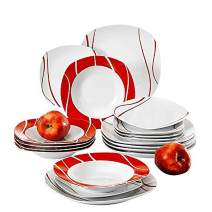 MALACASA 30 Pieces Square Dinnerware Set Gray White Dishes,Porcelain Dinner Plates Serving Plates for Soup Dessert and Salad, Mugs and Saucers Set, Service for 6 Series Felisa