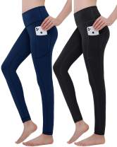 Double Couple High Waist Yoga Pants with Pockets for Women Tummy Control Workout Pants Leggings