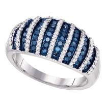 Dazzlingrock Collection 10kt White Gold Womens Round Blue Color Enhanced Diamond Band Ring 3/4 ctw