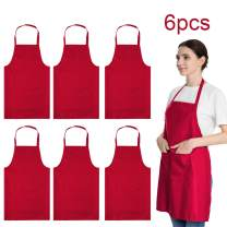 LOYHUANG Total 6PCS Red Aprons Bulk for Women Unisex Plain Colour Bib Aprons with 2 Front Pockets Washable Apron for Painting Cooking Baking Kitchen Restaurant Crafting