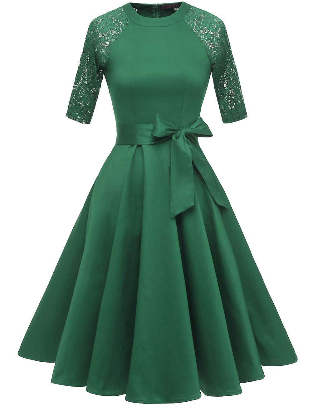 DRESSTELLS Women's Vintage 50's Retro Rockabilly Cocktail 3/4 Sleeves A-line Prom Party Dress