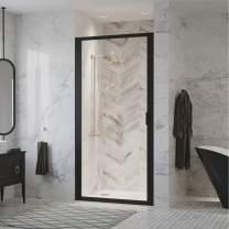 "Coastal Shower Doors P33.75O-C Paragon Series Framed Continuous Hinged Shower Door in Aquatex Glass, 33"" x 75"", Matte Black"