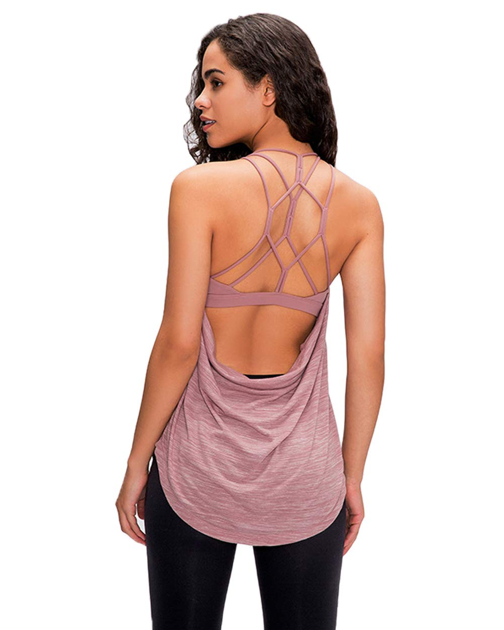 Workout Clothes Yoga Tank Tops for Women Strappy Back Sexy Activewear Running Tops Cross Back Open Shirt YG01