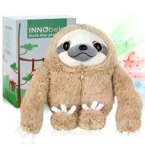InnoBeta Sloth Gifts for Christmas & Birthday, Sloth Stuffed Animal Teddy Bear Fluffy Plush, Three Toed Sloth Plush with Buttons, Home Décor, Star Projector Night Light for Kids
