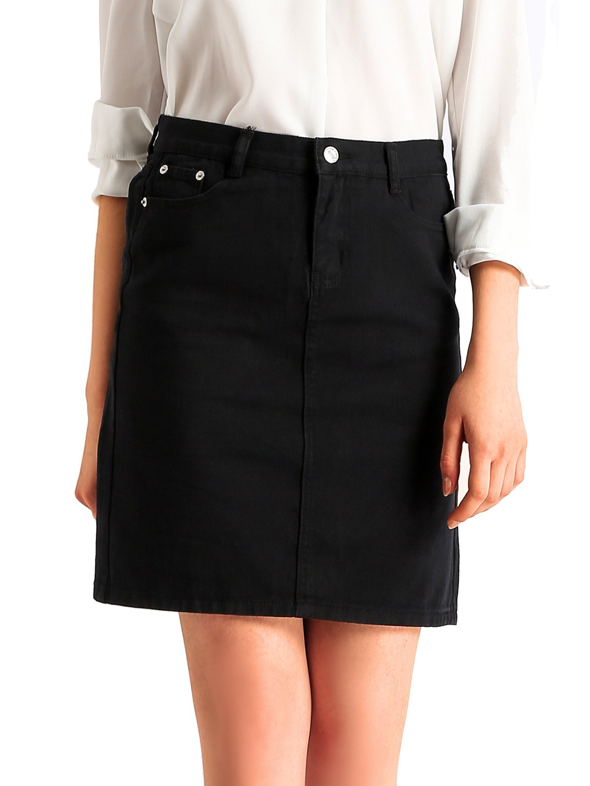 Beluring Womens Denim High Waisted Pencil Jeans Bodycon Skirts Black Size 6