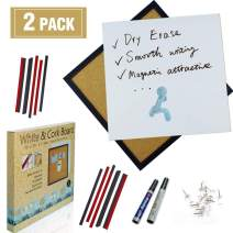 White Board and Cork Board Bulletin Board Combination,12 x 12 Inch Magnetic Dry Erase Board for Dorm, Home & Office (2 Pack)