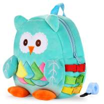 Toddler Backpack with Buckles Kids Plush Book Bag Children's Travel Activity Owl School Bag For Children (Blue)