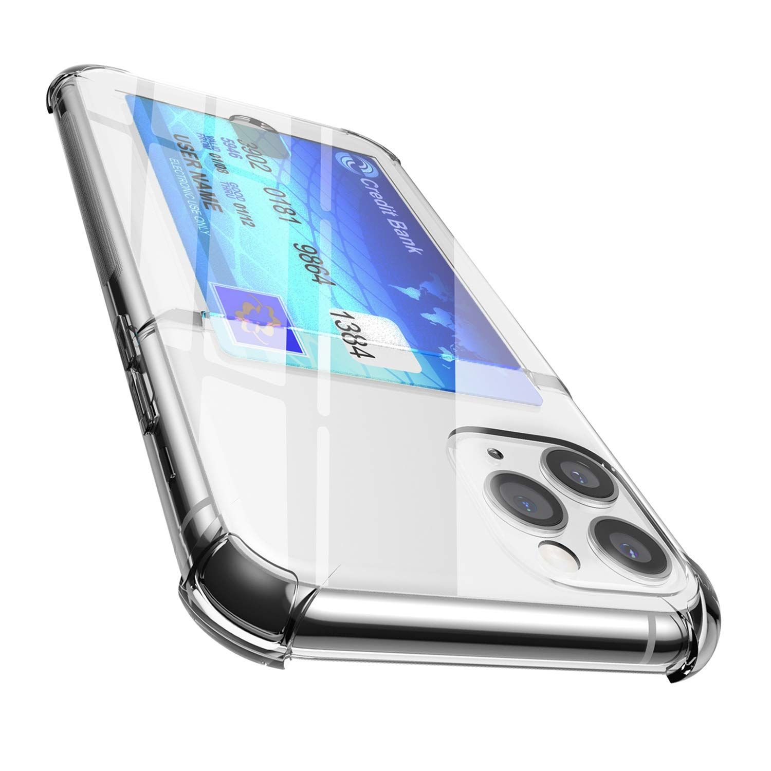 ANHONG iPhone 11 Pro Max Clear Case with Card Holder, [Slim Fit][Wireless Charger Compatible] Protective Soft TPU Shock-Absorbing Bumper Case