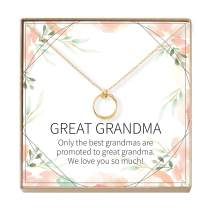 Dear Ava Great Grandmother Gift Necklace: Great Grandma to Be, Generations, Gift Idea, 2 Linked Circles (Gold-Plated-Brass, NA)