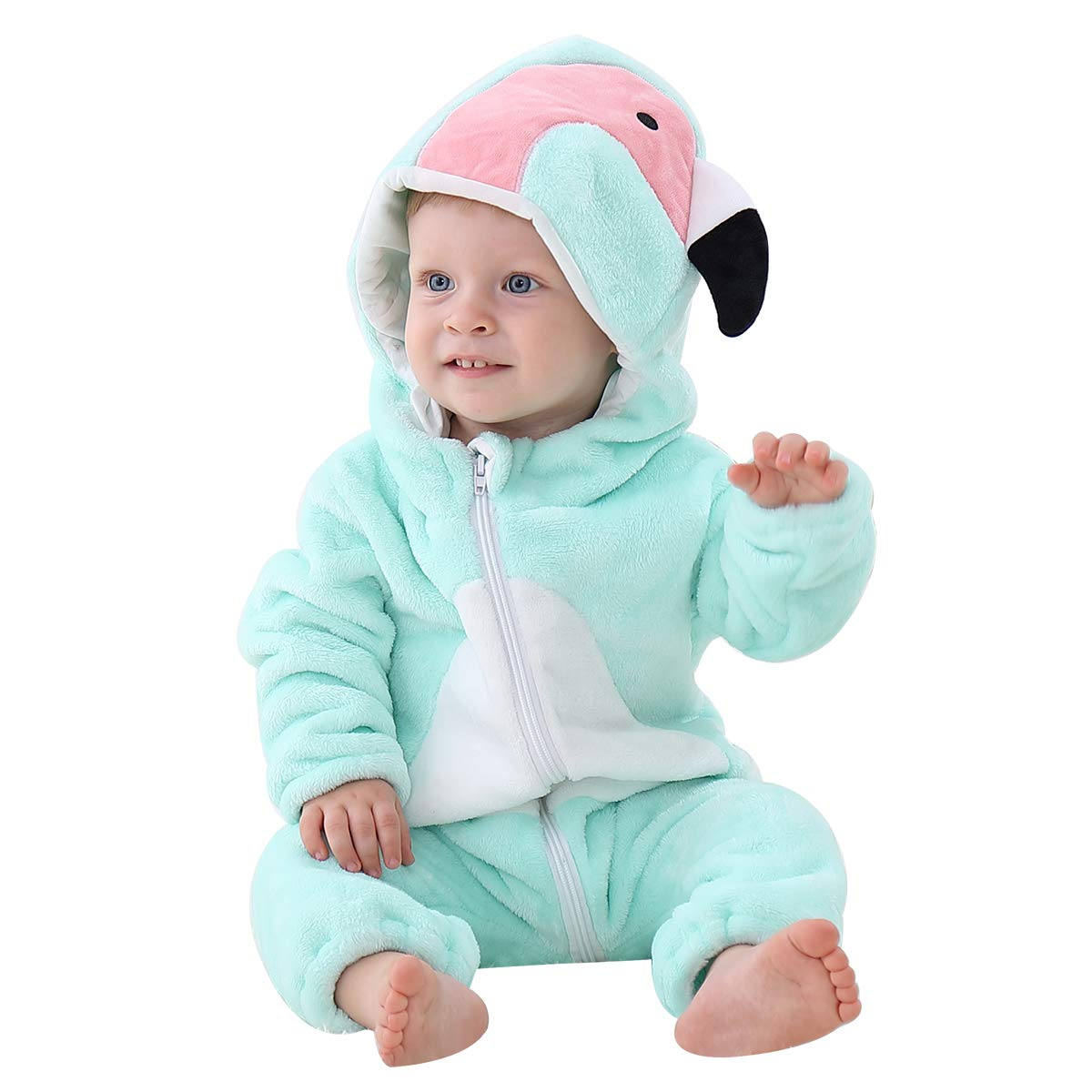 IDGIRLS Baby Flannel Hooded Rompers Cute Animal Cosplay Jumpsuit