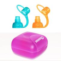 ChooMee SoftSip Food Pouch Tops   Orange Aqua + Purple Travel case   Prevent Spills and Protect Childs Mouth