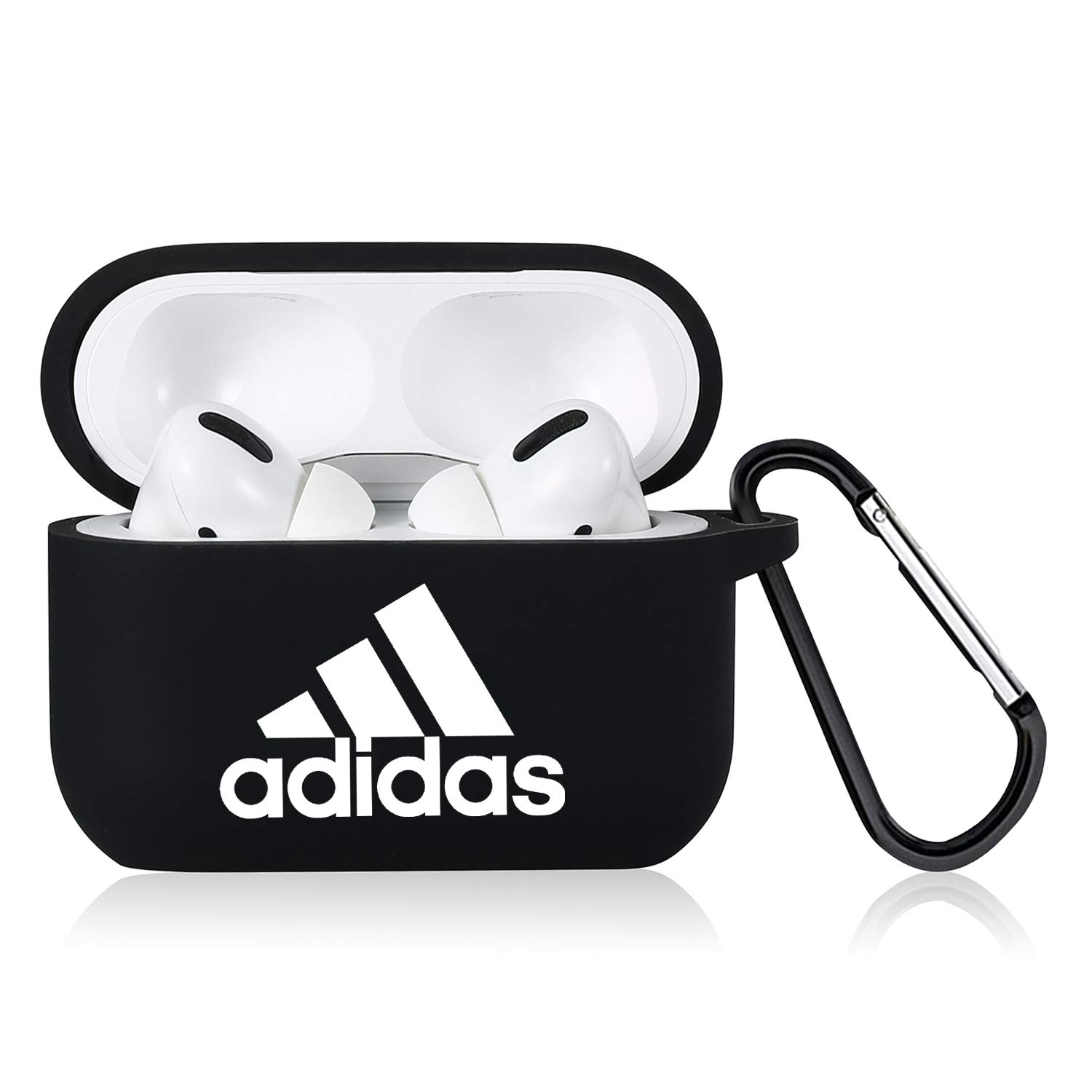 Punswan for Airpods Pro Case,Cute 3D Luxury Character Soft Silicone Stylish Cover, Sport Fun Cool Keychain Style Design Skin,Cases with Lanyard Chain,for Girls Kids Boys Men Air pods Pro/3 (Black Adi)