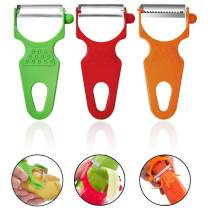 LHS Peeler Set of 3, Julienne Vegetable Peeler Stainless Steel Shredder Slicer for Cabbage, Potato, Apple, Carrot, Multifunctional Veggie and Fruit Peeler