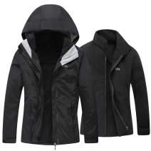 Diamond Candy Women's Winter Ski Jacket, 3-in-1 Warm Waterproof Coat with Windproof Fleece Liner