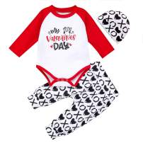 My First Valentine's Day Baby Girls Boys Clothes Cute Romper Top + Long Pants + Hat 3Pcs Outfits Set