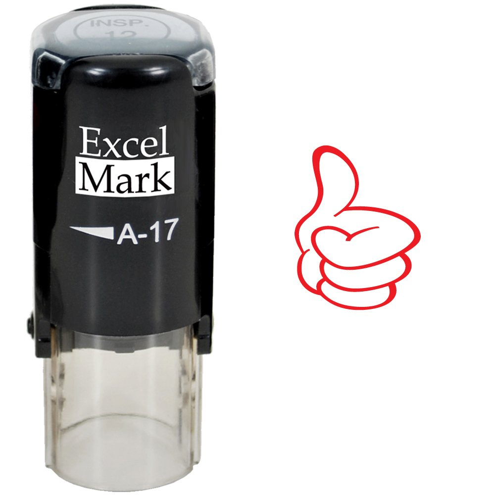Round Teacher Stamp - Thumbs UP (Outline) - RED Ink