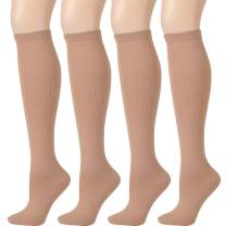 Compression Socks for Women Men - Ovruns 15-20 mmHg Pregnant Nurse Flight Surgery Recovery Support Stockings 3/4 Pairs