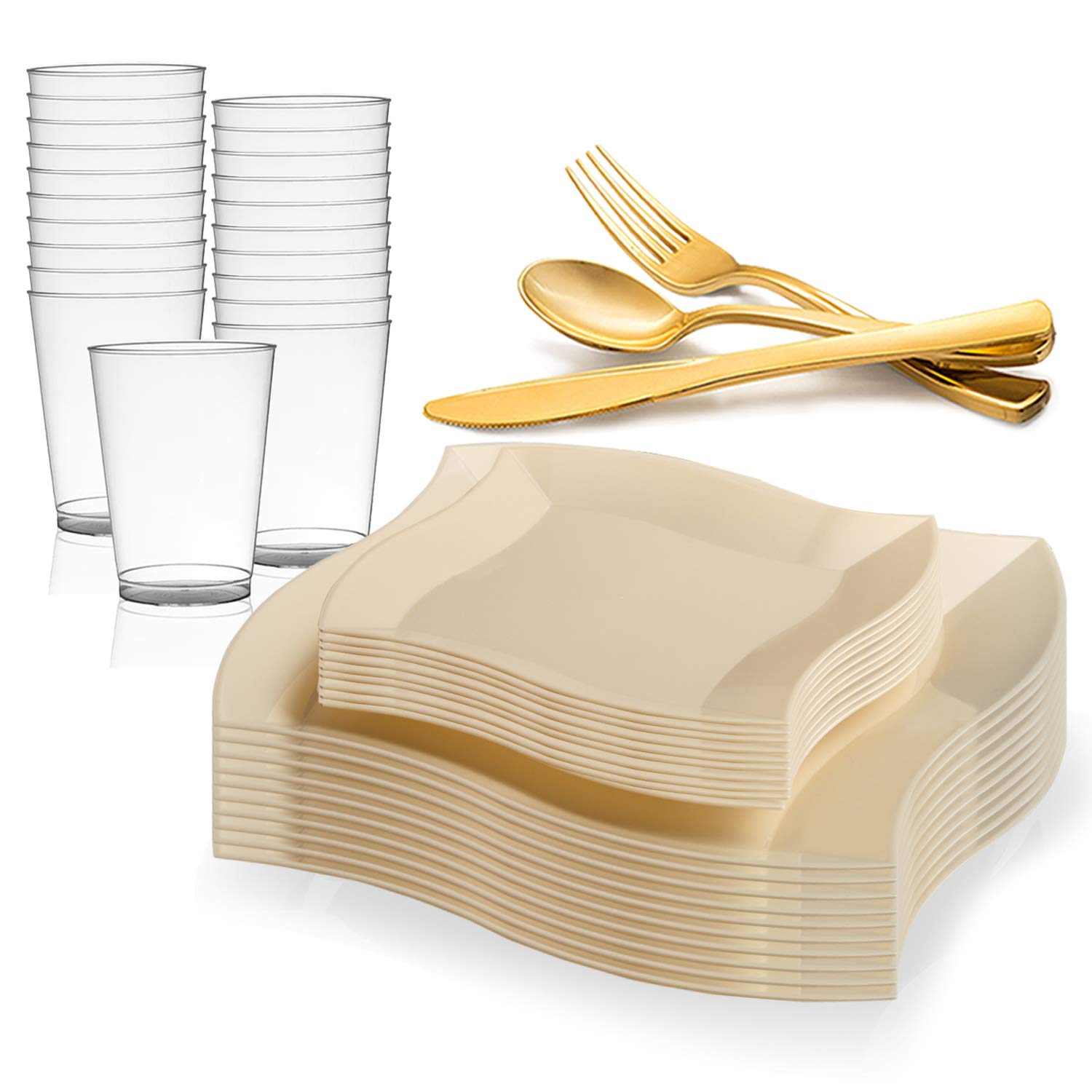 Elegant Disposable Plastic Dinnerware Set for 60 Guests - Includes Fancy Wave Ivory Dinner Plates, Dessert/Salad Plates, Gold Silverware/Cutlery & Cups For Wedding, Birthday Party & Other Occasions