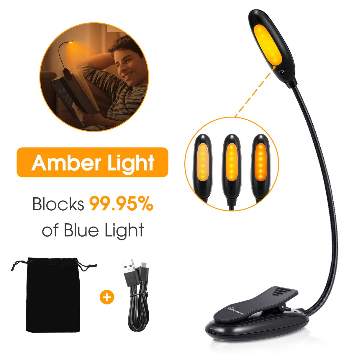 Amber Book Light, Blue Light Blocking Book Lamp, Techgomade Rechargeable Clip-On Reading Light, 1600K Warm LEDs for Reading in Bed, 3 Brightness, Eye-Protection Night Lamp for Kids, Bookworm, Kindle