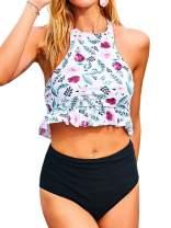 Tutorutor Womens High Neck Peplum 2 Piece Halter Tankini Sets High Waisted Ruffle Floral Crop Top Swimsuits Bikini