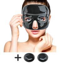 Cold Clay Facial Ice Mask by FOMI Care | Plus 2 Eye Compresses | Cooling Face Mask for Acne, Swollen Face, Puffy Eyes, Dark Circles, Headache, Migraine, Sinus Relief | Fabric Backing | Clay Filling