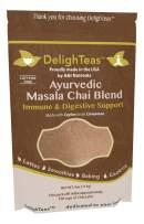 Ayurvedic Organic Masala Chai powder; No added sugar or sweetener; 4oz (100 Servings) - Caffeine free - Made with Ceylon (true) Cinnamon - Great for Vegan Lattes and Smoothies