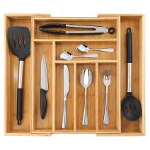 Bamboo Expandable Drawer Organizer for Kitchen, 100% Eco Friendly Adjustable Drawer Divider Holder for Silverware Tray, Cutlery, Utensil, Stationery, 8 Compartments
