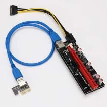 YIKESHU 3-PCS 6 pin Pcie Riser, PCI-E Riser 1X to 16X Riser Card 164P / 60cm USB 3.0 Extender Riser Adapter Graphics Card Ming ETH
