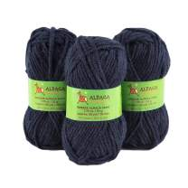 Blend Alpaca Yarn Wool Set of 3 Skeins Bulky Weight - Heavenly Soft and Perfect for Knitting and Crocheting (Navy Blue, Bulky)