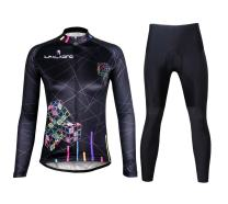 ILPALADINO Womens Cycling Jersey Clothing Set Long Sleeve Pant Magic Cube Black