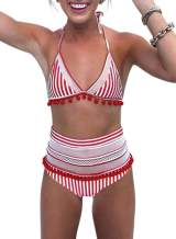 Aleumdr Womens High Waist Two Pieces Bikini Set Padded Stripe Tassel Swimsuit