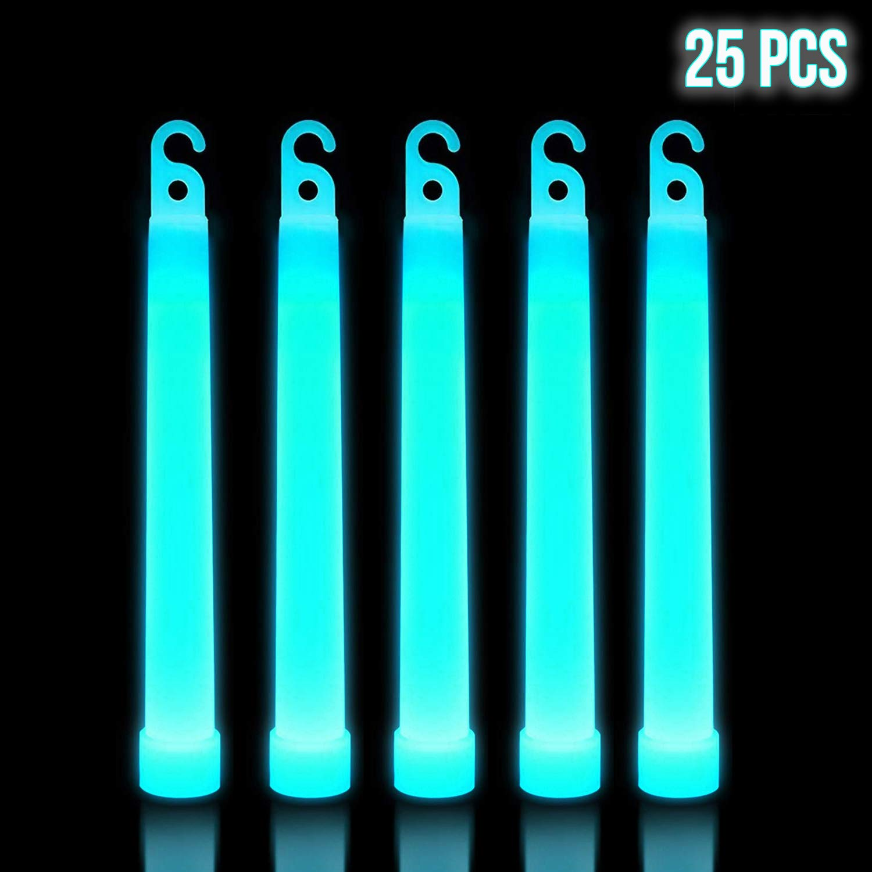 Lumistick 6 Inch Premium Glow Sticks | 15mm Thick Flat Bottom Illuminating Glowing Sticks | Waterproof & Non-Toxic Light Up Neon Sticks with Hook for Camping & Hiking (25 Glow Sticks, Aqua)