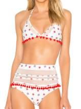 Halter Tie Back High Waist Triangle Bikini Set,Tummy Control Swimsuit for Women
