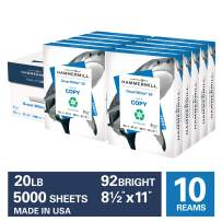 Hammermill Great White 30% Recycled 20lb Copy Paper, 8.5 x 11, 10 Ream Case, 5000 Sheets, Made in USA, Sustainably Sourced From American Family Tree Farms, 92 Bright, Acid Free, Printer Paper, 086700C