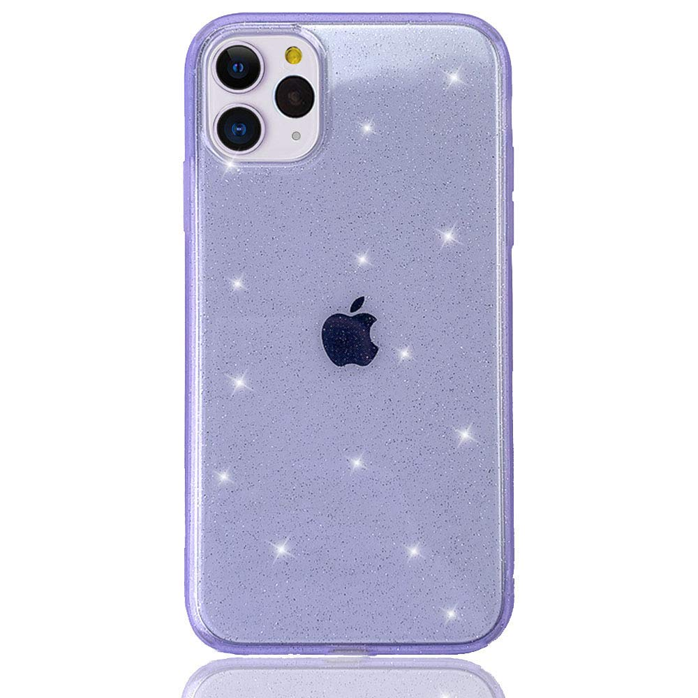 HUIYCUU Case for iPhone 11 Pro Max Case Clear Glitter, Soft Cute Slim Sparkle Bling Design Pattern Drop Protection Shockproof Bumper Girl Women Cover Compatible with iPhone 11 Pro Max, Matte Purple