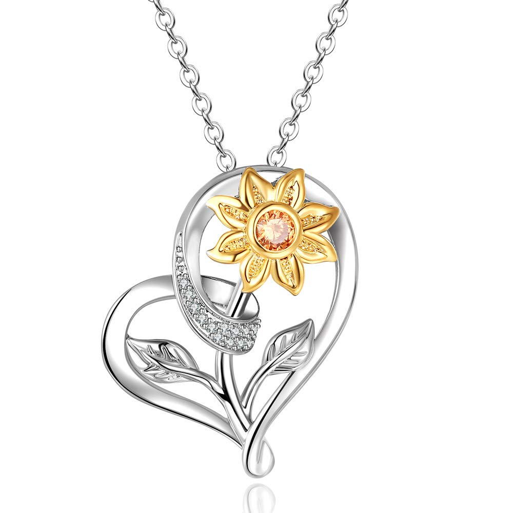 UNGENT THEM Sunflower Heart Pendant Necklace You are My Sunshine Jewelry Gifts for Women Mother's Day Mom Daughter Mother Girlfriend
