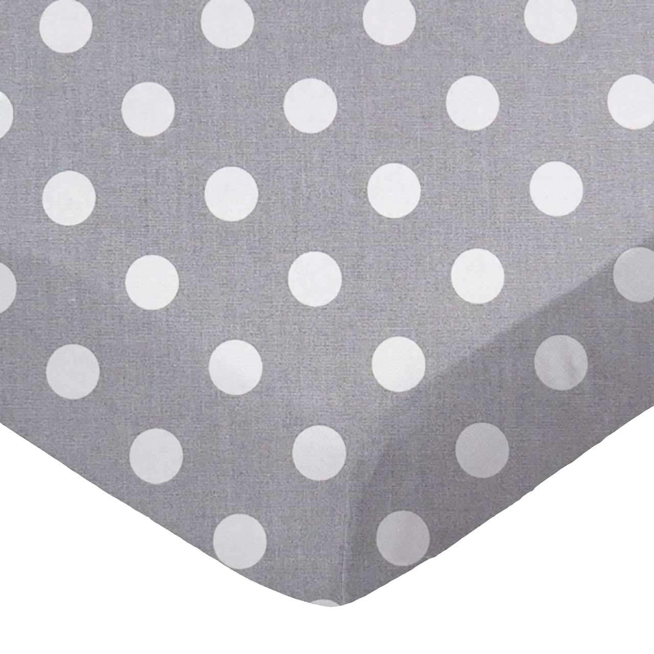 SheetWorld Fitted Basket Sheet - Polka Dots Grey - Made In USA