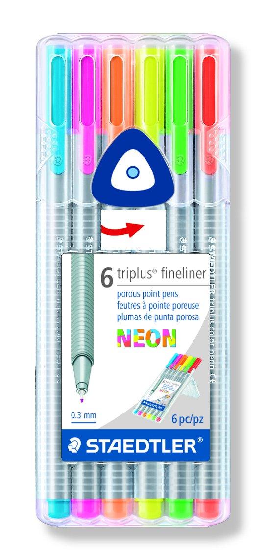 Staedtler Fineliner Drawing Pens .3mm 6 Count Triplus Fine Line, 6-Pack, Assorted Neon