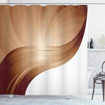 """Ambesonne Chocolate Shower Curtain, Spiraling Stripes with Monochrome Tones Modern Art Inspirations Abstract, Cloth Fabric Bathroom Decor Set with Hooks, 84"""" Long Extra, White Brown"""