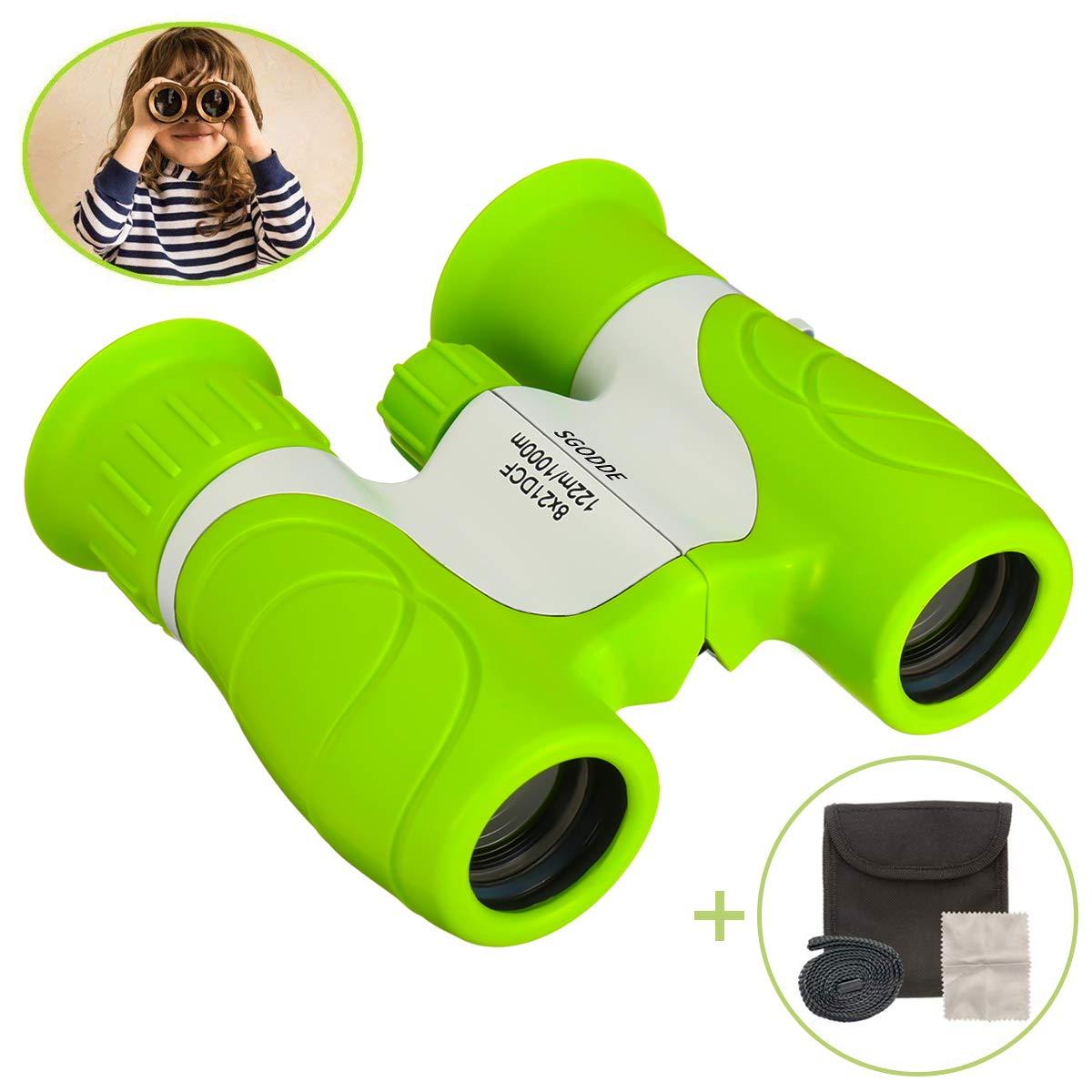 SGODDE 8x21 Kids Binoculars, Small Binoculars-Shock Proof,Waterproof,HD Vision,Teens Toys Telescope,Children Gifts for Outdoor Camping, Hunting, Hiking,Travelling,Concert Green Compact