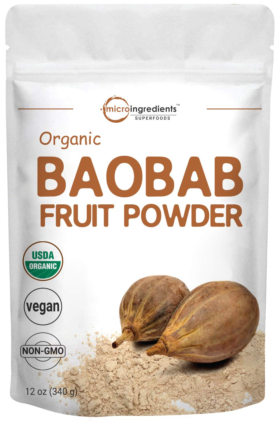 Organic Baobab Powder, 12 Ounce, Immune Vitamin C Powder, Natural Antioxidant, Flavonoids and Fatty Acid, Enhance Energy and Immune System, Non-GMO and Vegan Friendly