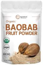 Organic Baobab Powder, 12 Ounce, Immune Vitamin C Powder, Natural Antioxidant, Flavonoids and Fatty Acid, Enhance Energy and Immune System, Non-GMO and Vegan Friendly