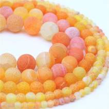 "Oameusa 6mm Orange Weathered Matte Agate Stone Dye Color Unpolished Round Beads DIY Materials Bracelet Necklace Earrings Making Jewelry Agate Beads for Jewelry Making 15"" 1 Strand per Bag-Wholesale"