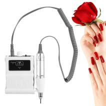30000 RPM Nail File Drill Machine, Portable Rechargeable Polishing Buffer and Smooth Nails Device Tool Set (White)