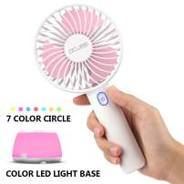 OCUBE Handheld Fan, Mini Hand Held Fan with 7 Color LED Light Base, 2000mAh Battery Operated USB Rechargeable Desk Fan, 3 Speeds Electric Portable Personal Cooling Fan for Home Office Travel (Pink)