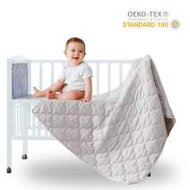 "SunStyle Home Ultra Soft Toddler Quilt Kids Lightweight Baby Blanket Grey Multi-Use Microfiber Cozy Crib Comforter Breathable Nursing Blanket for Boy and Girls (Light Grey, 36""X48"")"