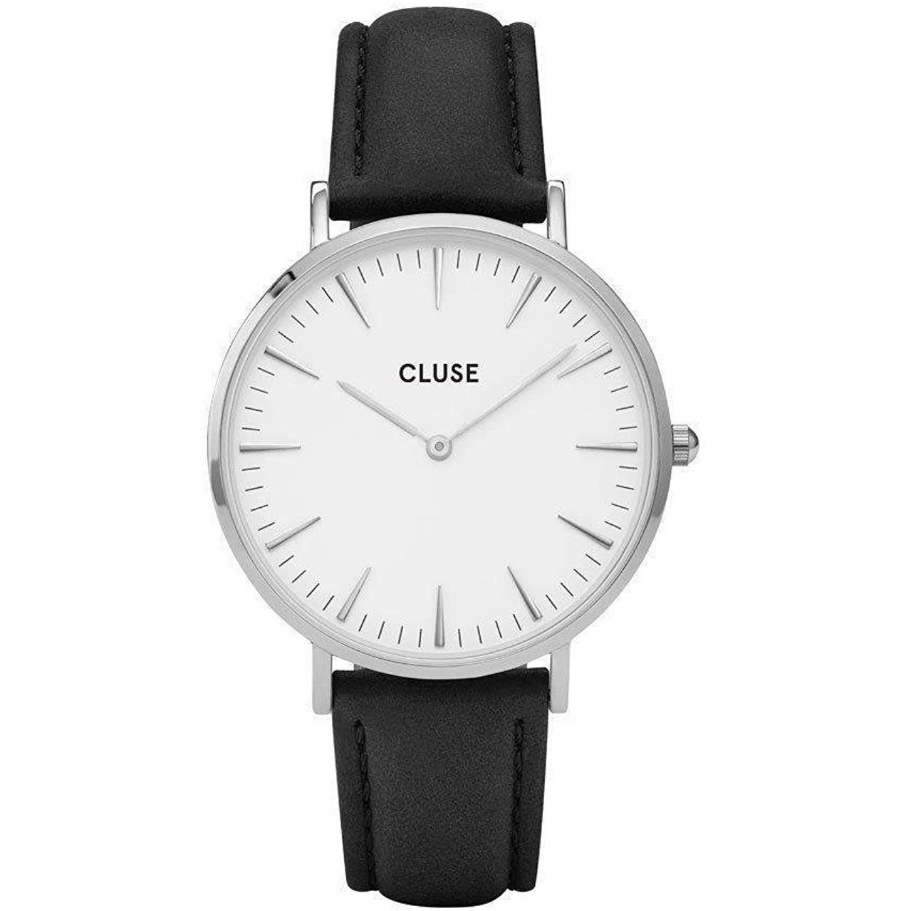 CLUSE La Bohème Silver White Black CL18208 Women's Watch 38mm Leather Band Minimalistic Design Casual Dress Japanese Quartz Elegant Timepiece